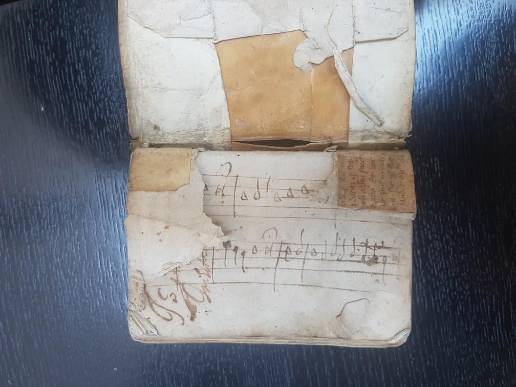 Foglio di guardia posteriore - frammento 2 (lato visibile) - contropiatto posteriore